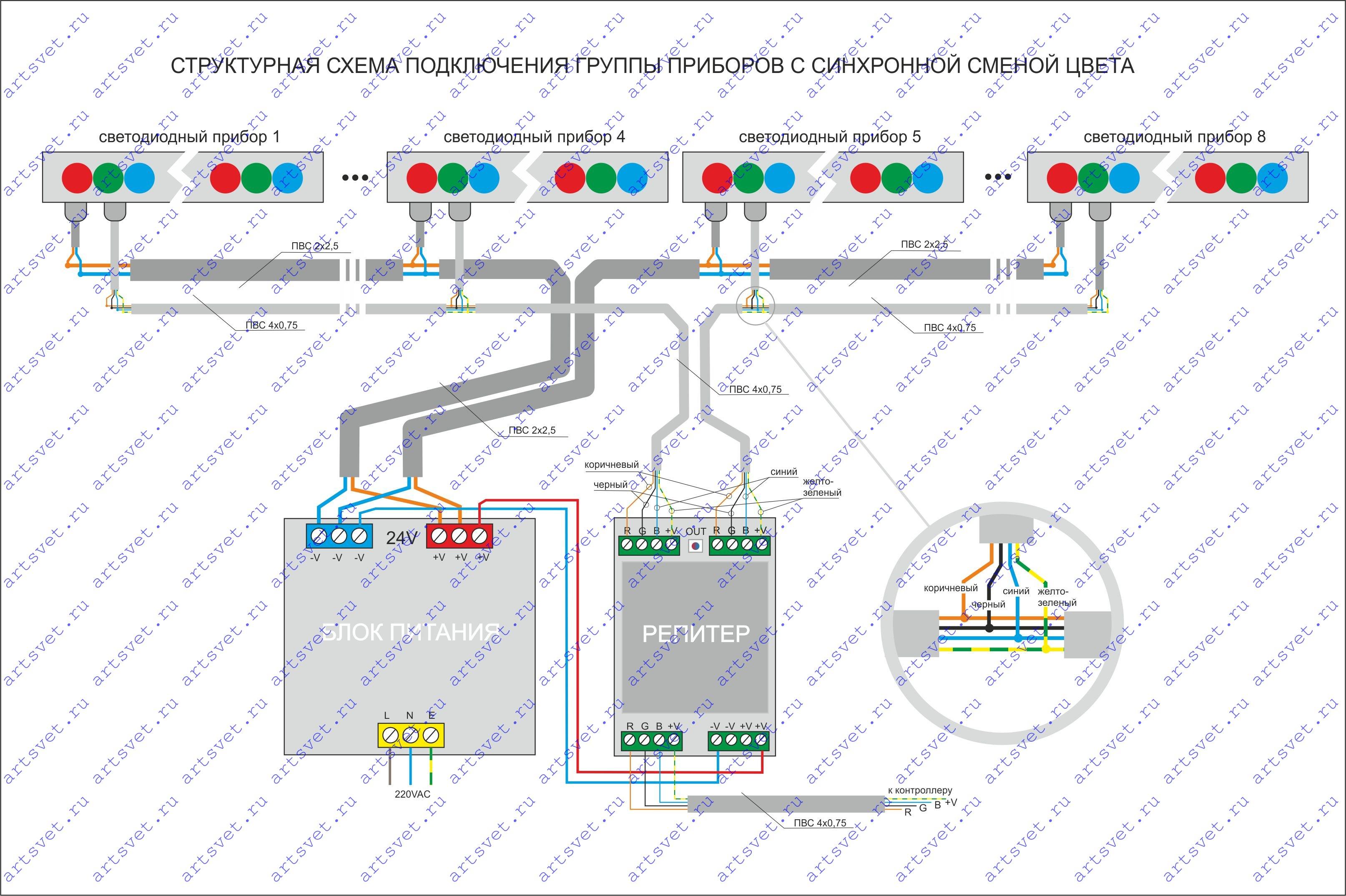 Светильники лед схема подключения